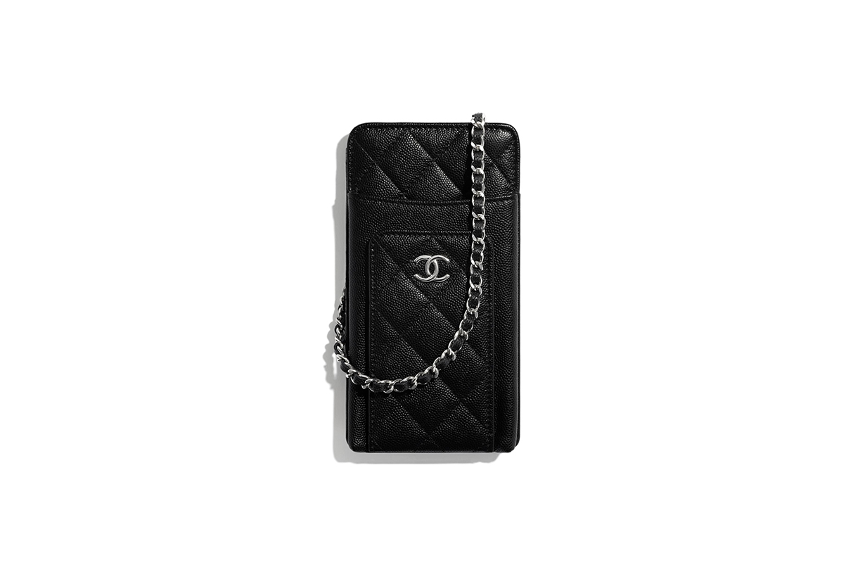 chanel clutch with chain grained calfskin fabric silver tone metal mini bags 2020