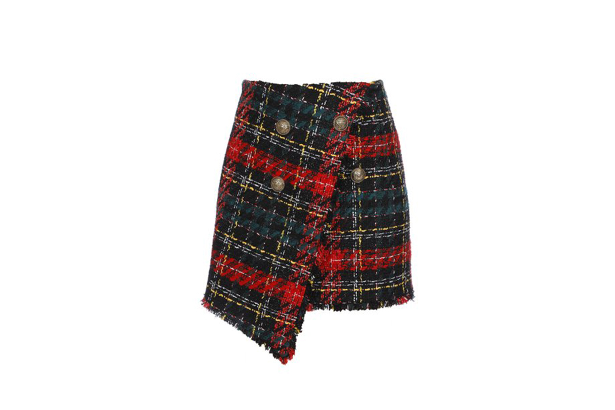 Balmain Asymmetric Tartan Tweed Skirt
