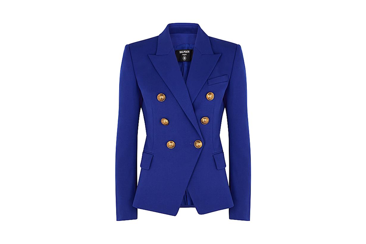 BALMAIN  Cobalt blue double-breasted wool blazer