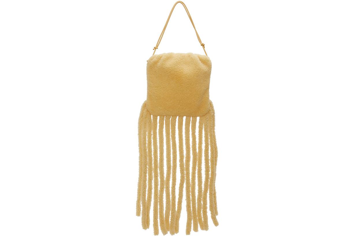 BOTTEGA VENETA Beige Shearling 'The Fringe' Shoulder Bag