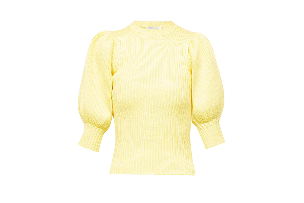 CECILIE BAHNSEN Maddy puff-sleeve ribbed sweater