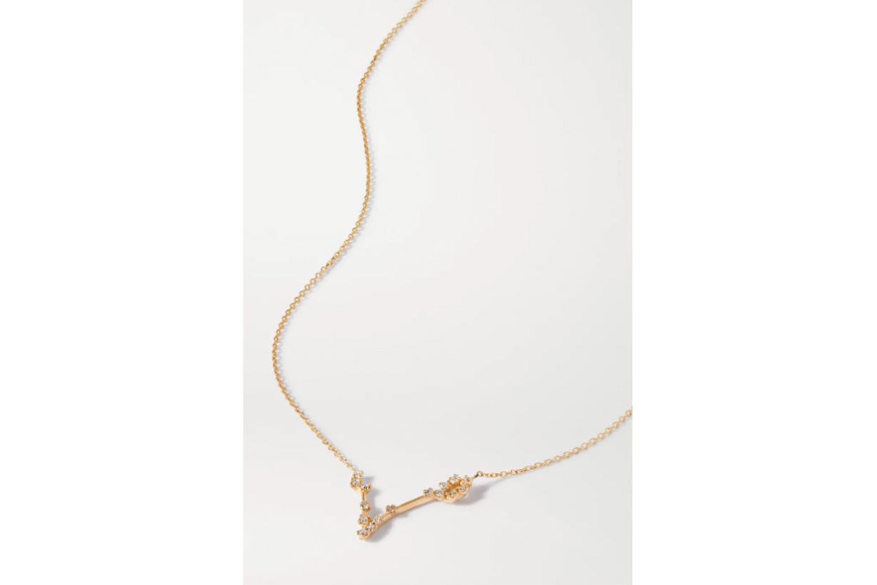 Celestial Pisces 10-karat gold diamond necklace
