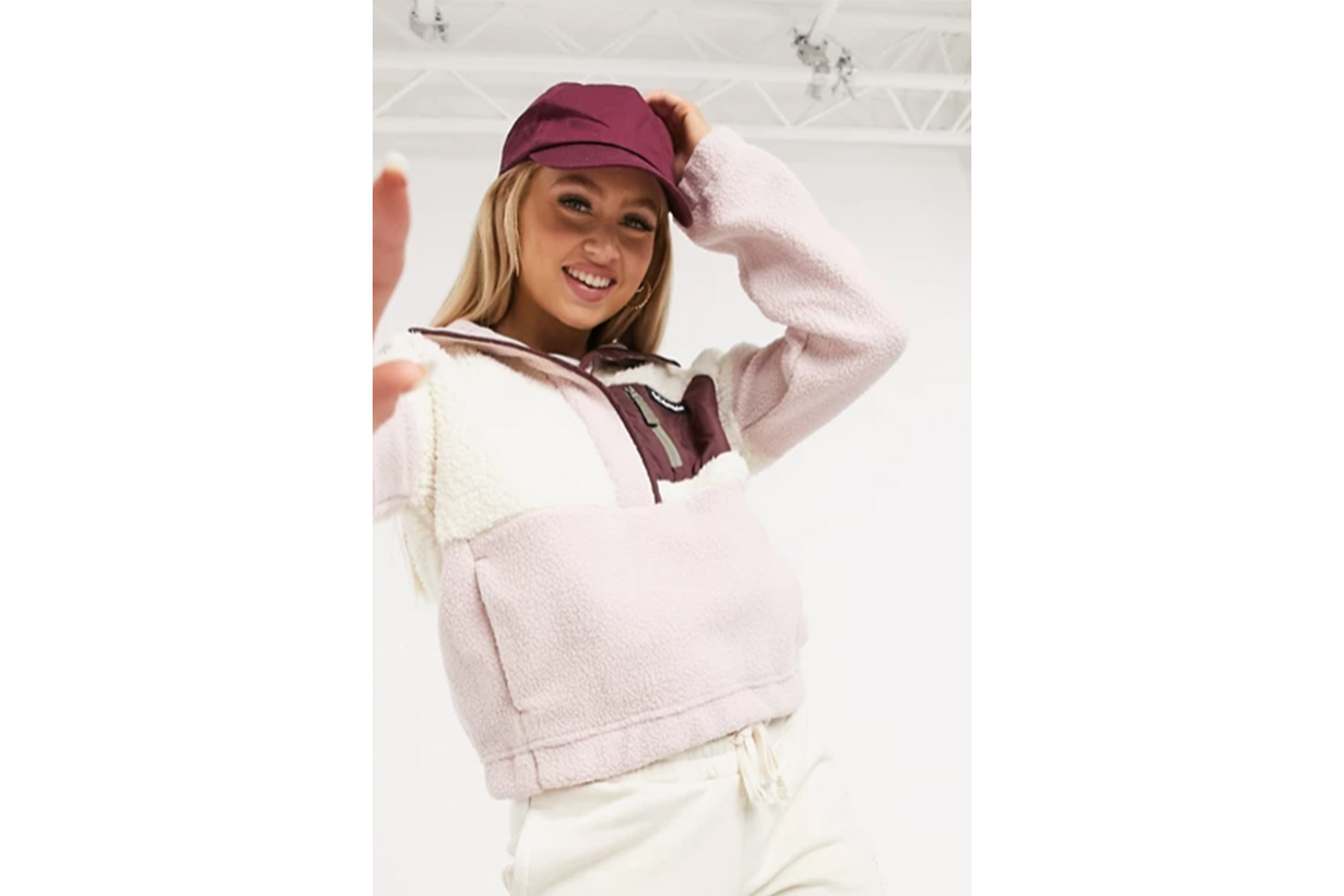 Columbia Lodge sherpa pullover fleece in pink