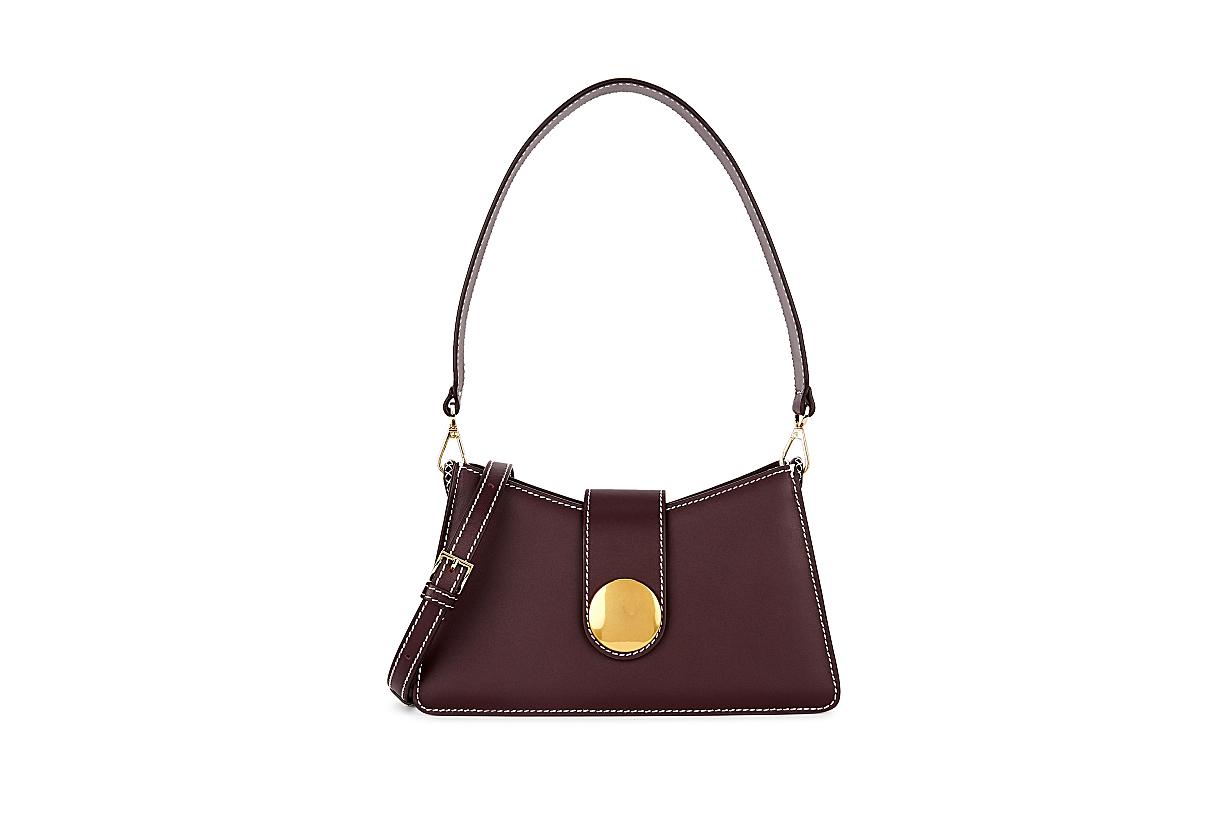 ELLEME Baguette plum leather cross-body bag