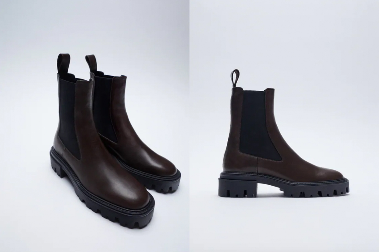 FLAT LEATHER ANKLE BOOTS WITH TRACK SOLES