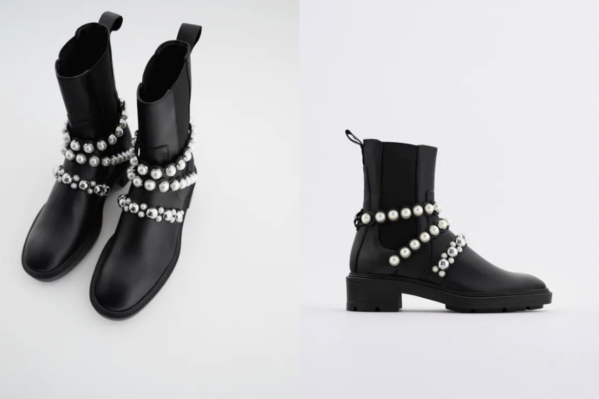 FLATFORM LEATHER ANKLE BOOTS WITH FAUX PEARL STRAPS