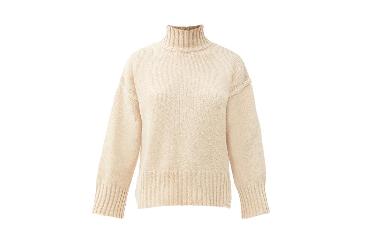 FRAME Split-hem brushed wool-blend sweater