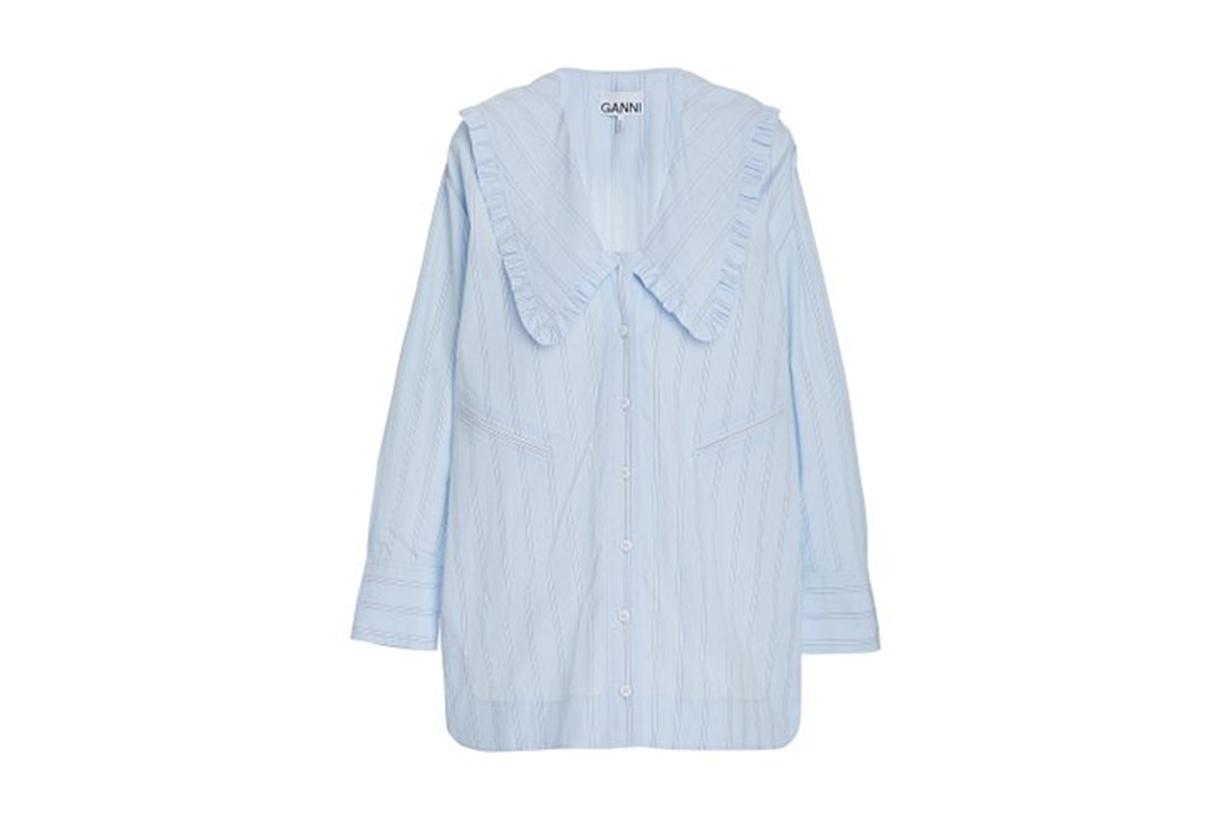 Ganni Frilled Striped Organic Cotton Shirt