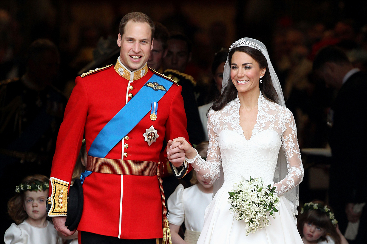 TRH Prince William, Duke of Cambridge and Catherine, Duchess of Cambridge smile following their marriage at Westminster Abbey on April 29, 2011 in London, England. The marriage of the second in line to the British throne was led by the Archbishop of Canterbury and was attended by 1900 guests, including foreign Royal family members and heads of state. Thousands of well-wishers from around the world have also flocked to London to witness the spectacle and pageantry of the Royal Wedding.