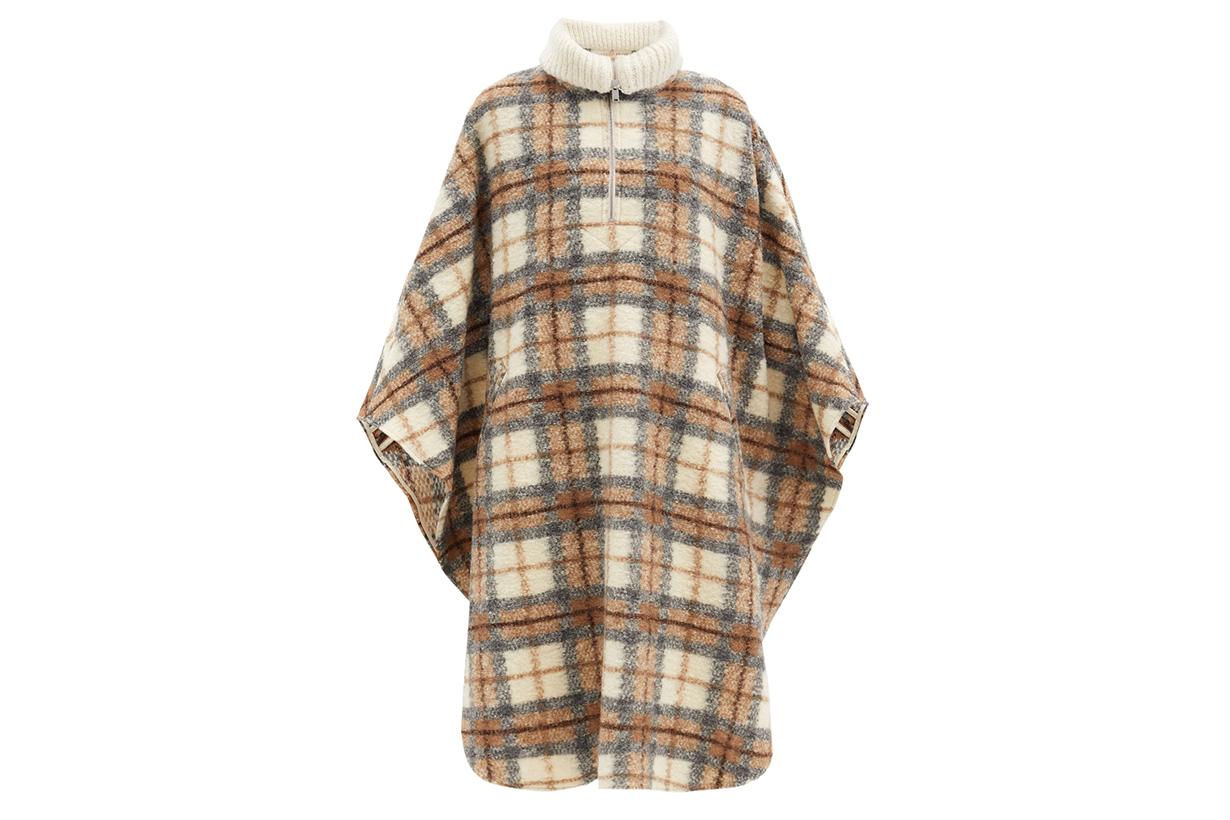 ISABEL MARANT ÉTOILE Gabin roll-neck checked wool-blend cape coat
