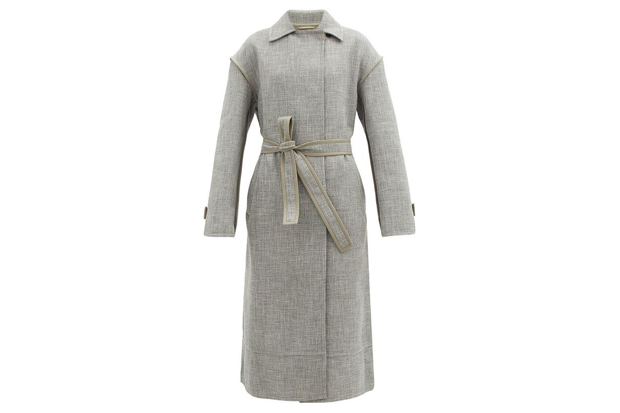 JIL SANDER Belted slubbed-weave coat