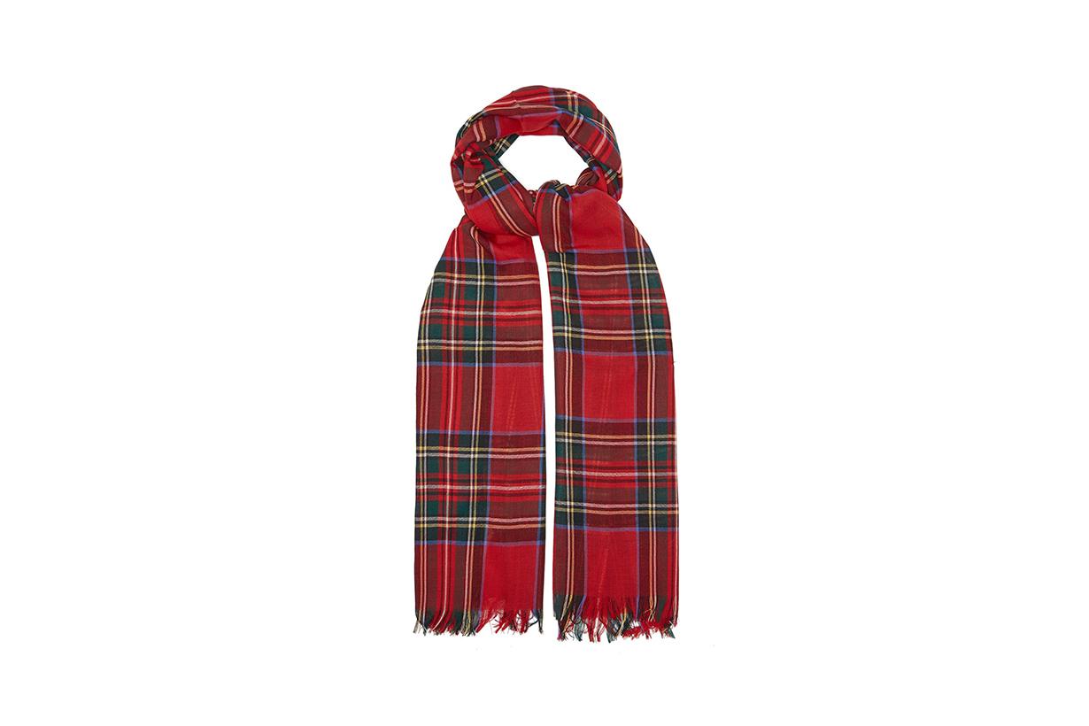 JOHNSTONS OF ELGIN Fringed tartan wool scarf