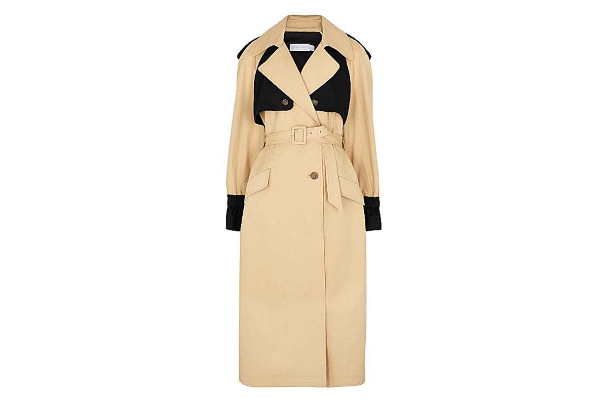 JONATHAN SIMKHAI  Paige sand and black twill trench coat