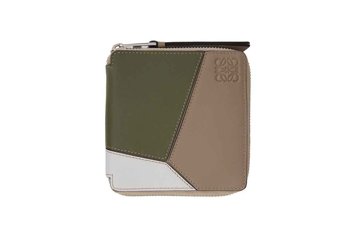 LOEWE Green & Beige Puzzle Square Zip Wallet