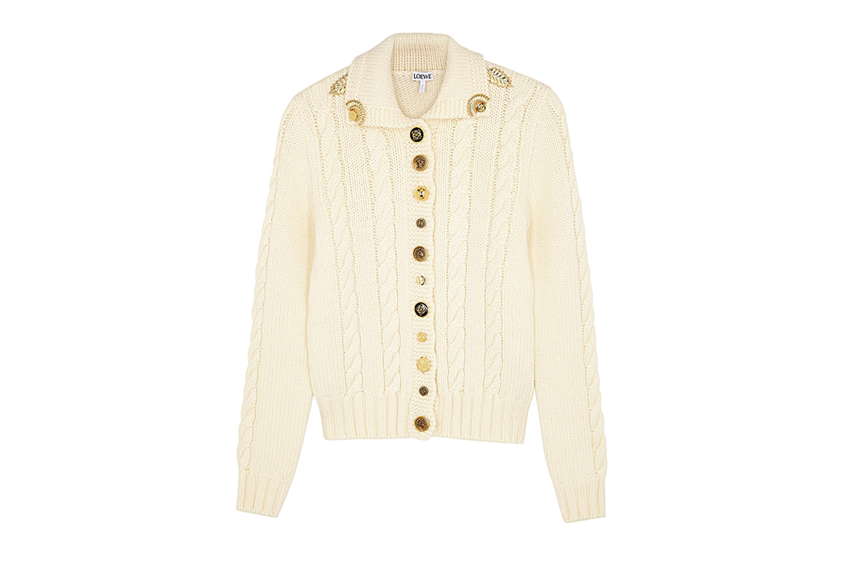 LOEWE  Ivory cable-knit wool cardigan
