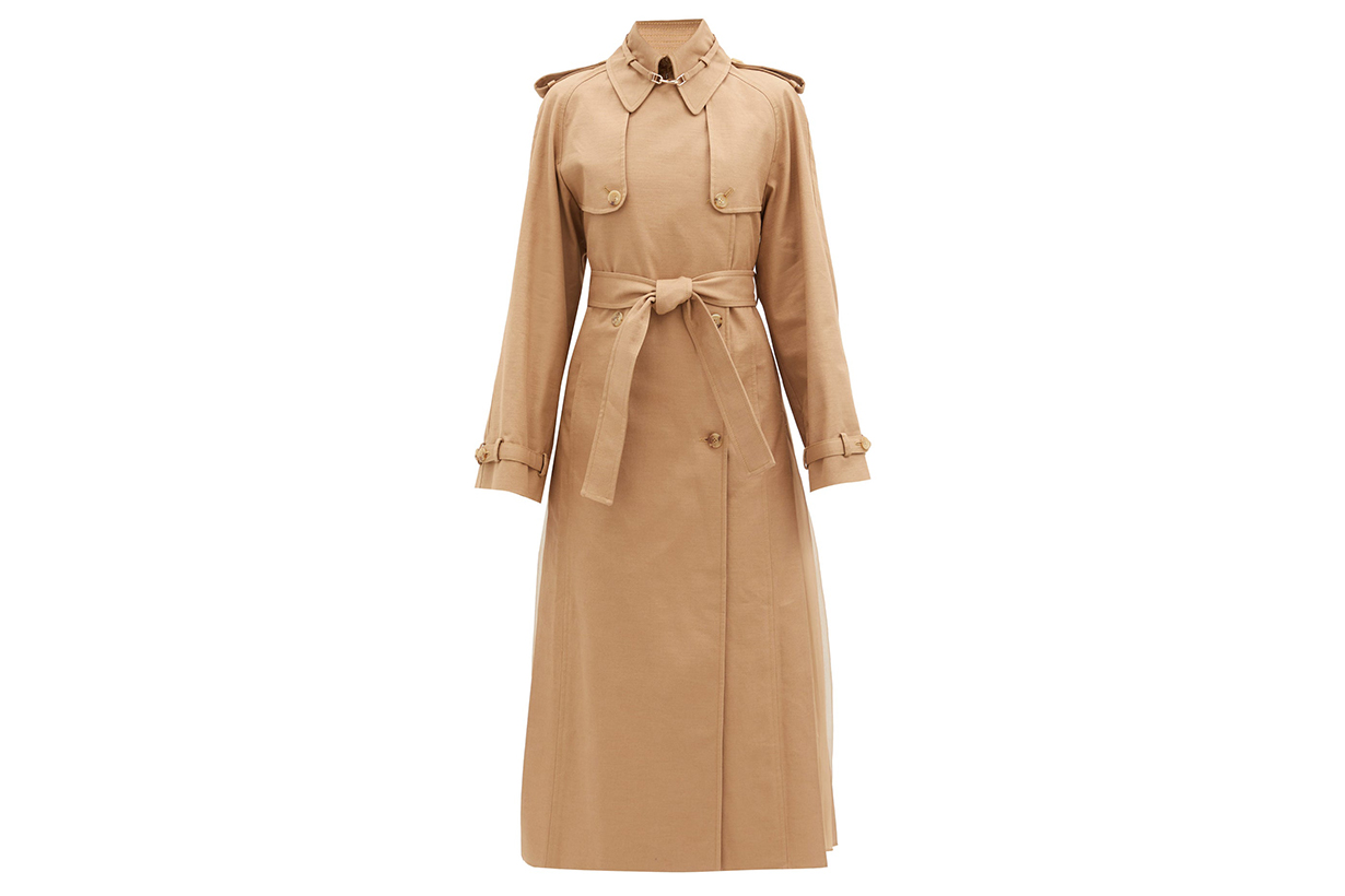 Lorna double-breasted pleated cotton trench coat