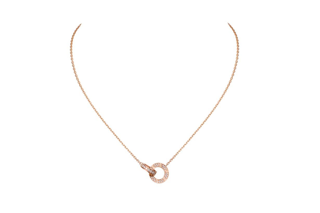 LOVE 項鏈 18K玫瑰金,鑽石