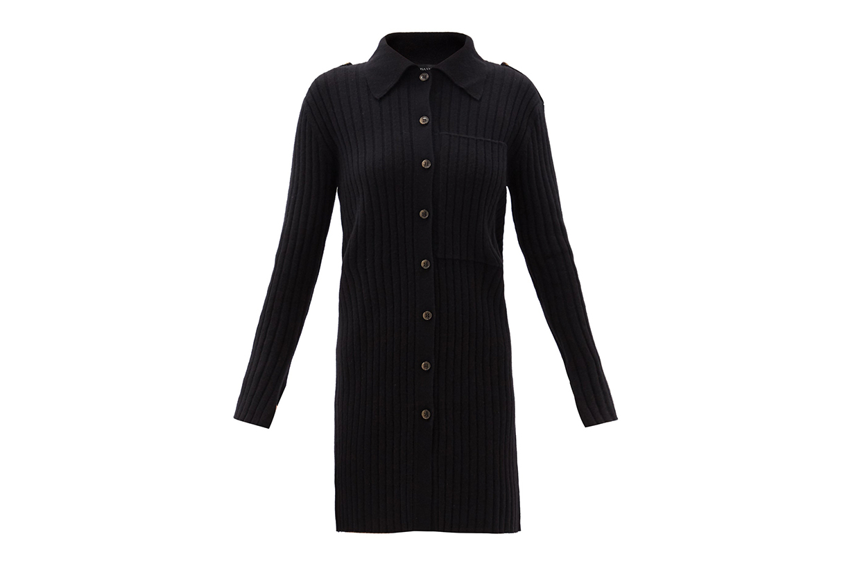 Lydia point-collar ribbed-cashmere cardigan