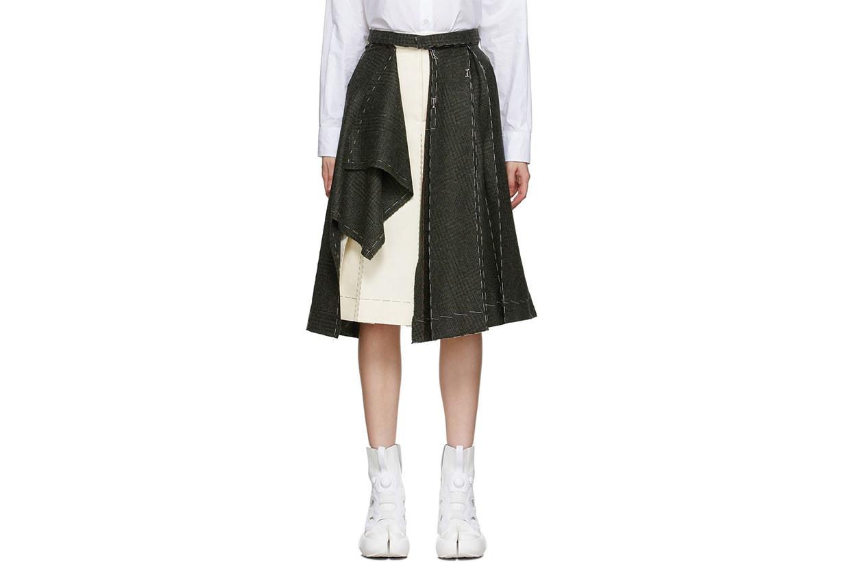 MAISON MARGIELA Green & Beige Deconstructed Skirt