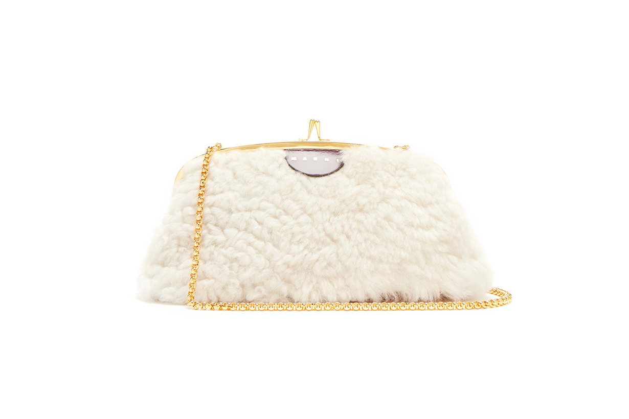 MARNI Cindy shearling and leather cross-body bag