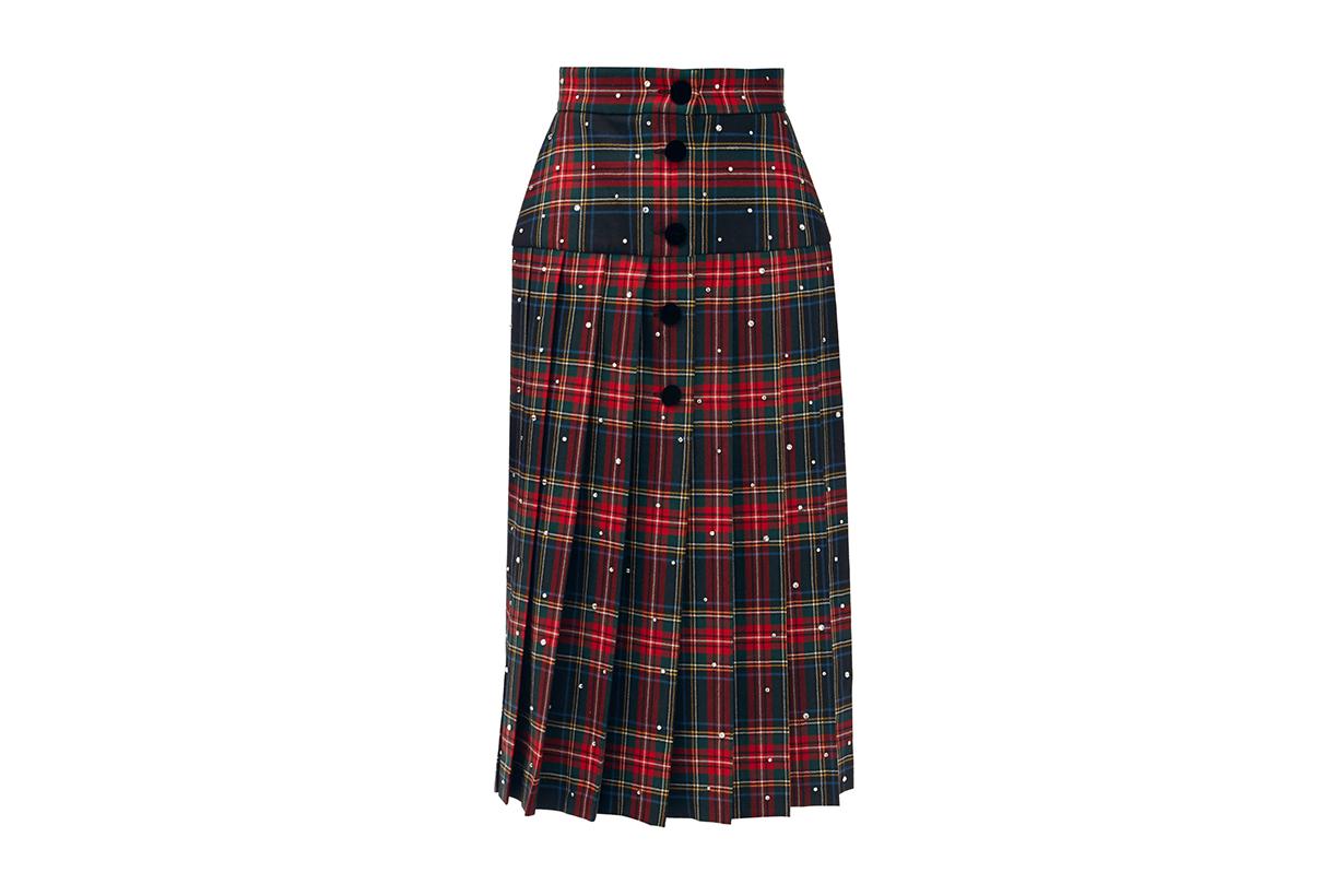 MIU MIU Crystal-embellished pleated wool tartan midi skirt