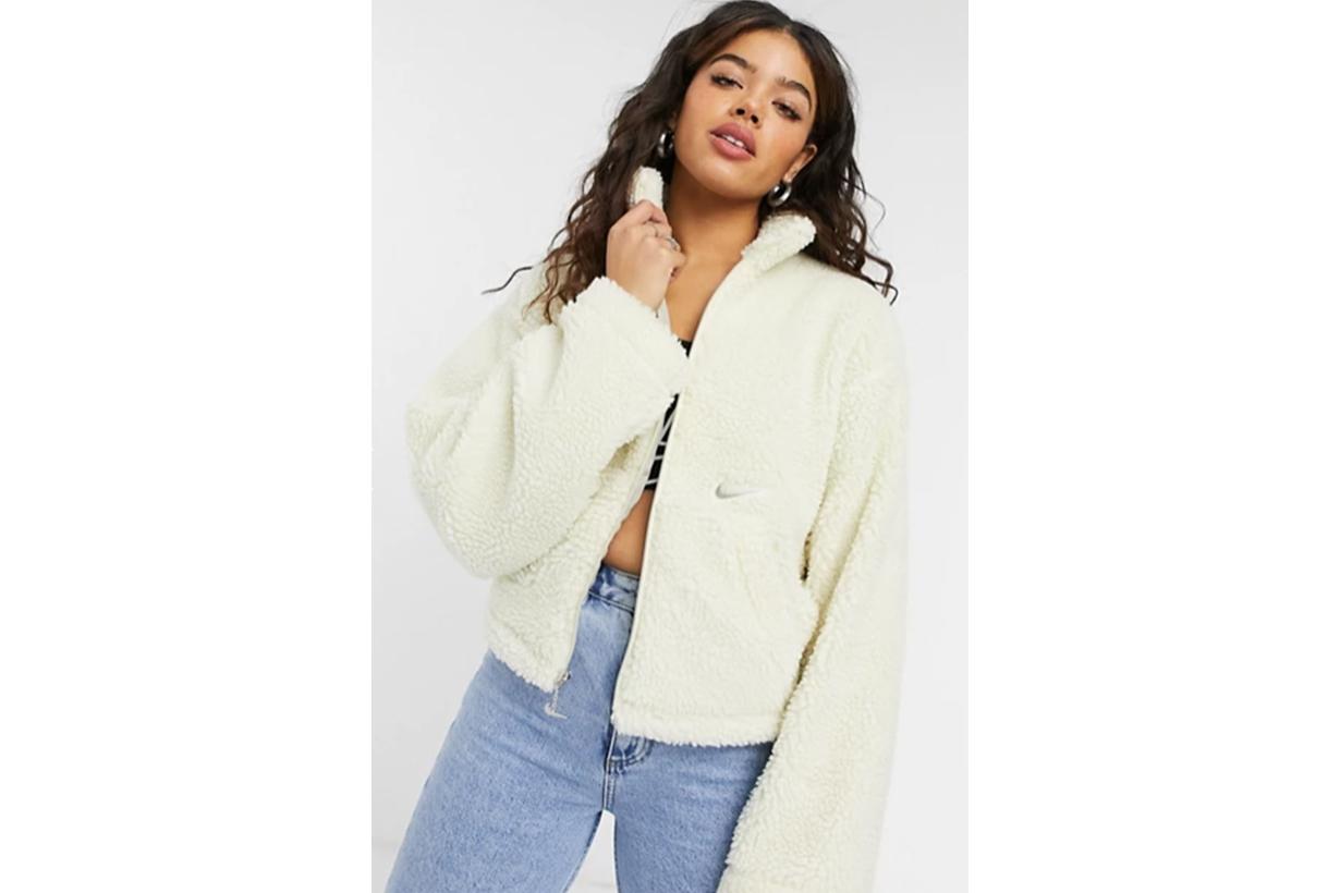 Nike cropped borg fleece jacket in cream