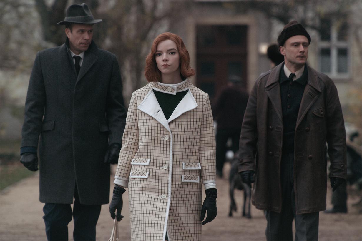 Anya Taylor-Joy wears checked coat