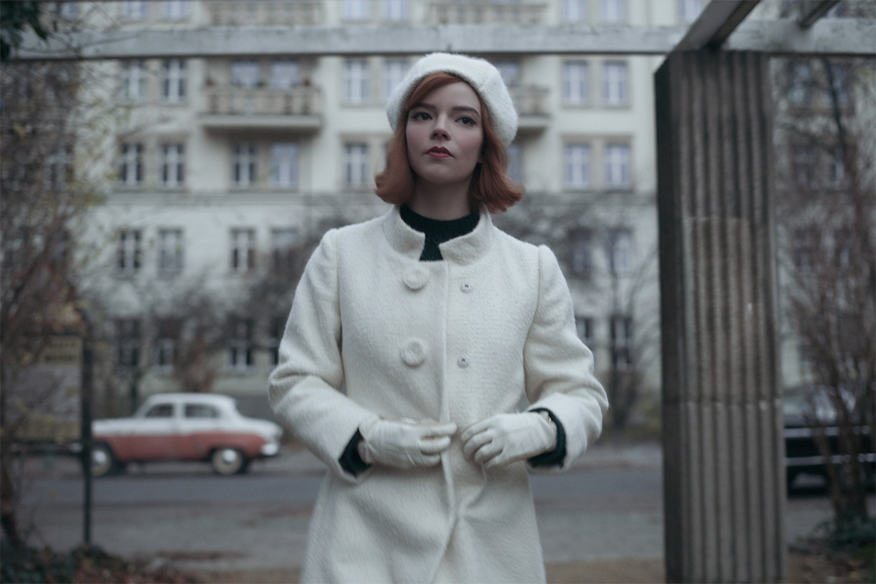 Anya Taylor-Joy Wears White Wool Coat