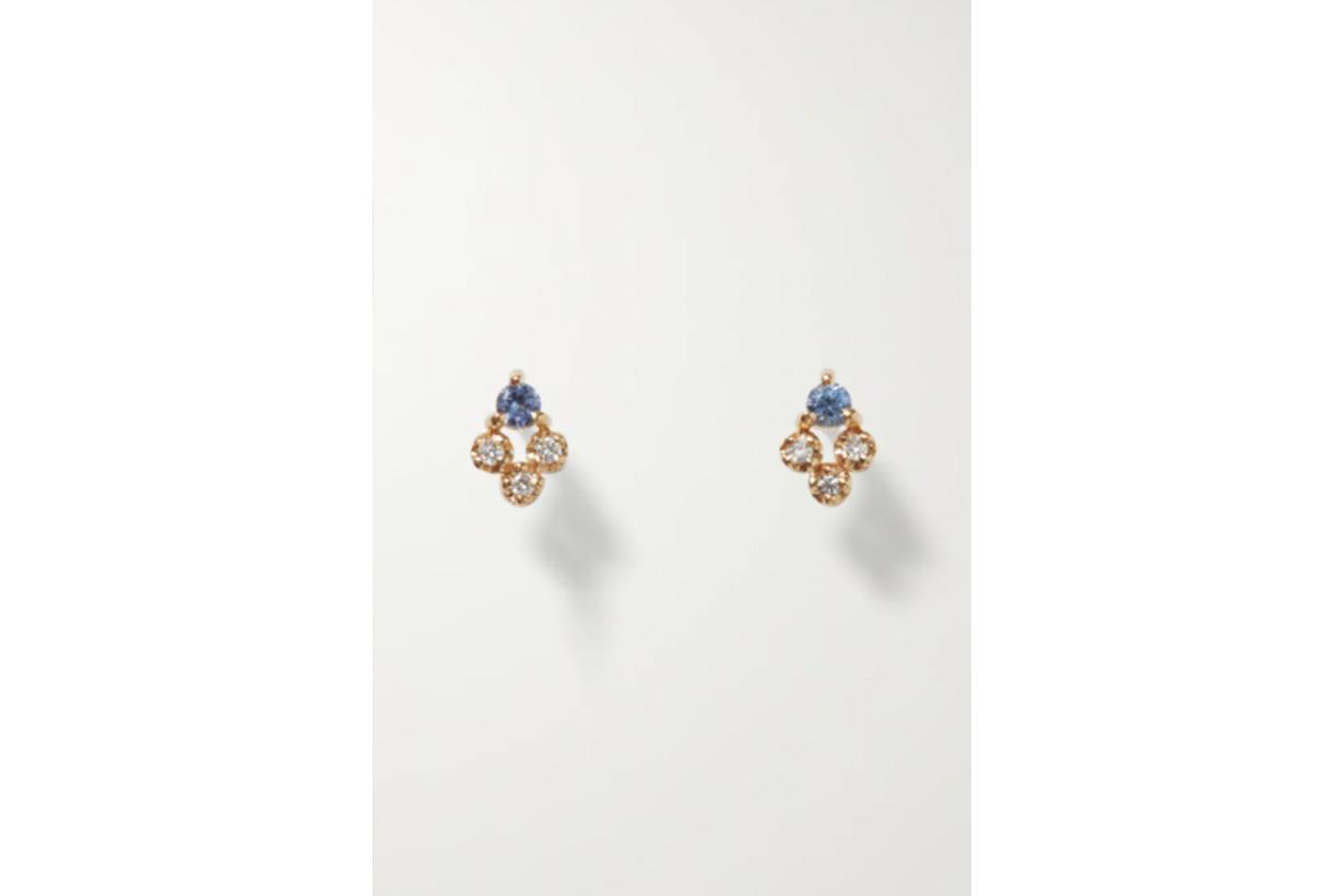 Posy gold, sapphire and diamond earrings