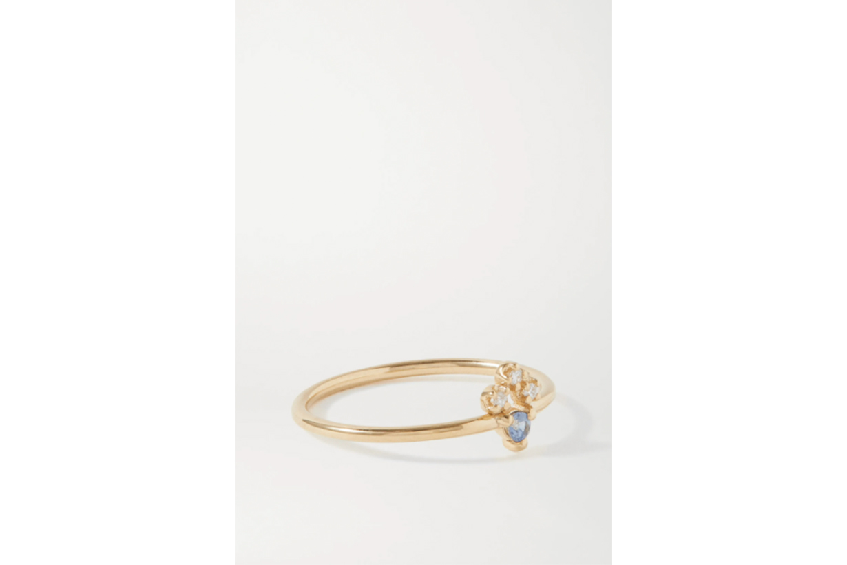 Posy gold sapphire and diamond ring