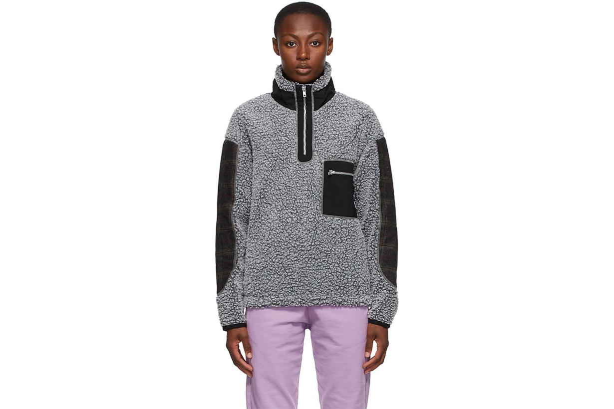RASSVET Grey Colorblock Fleece Zip-Up Sweater