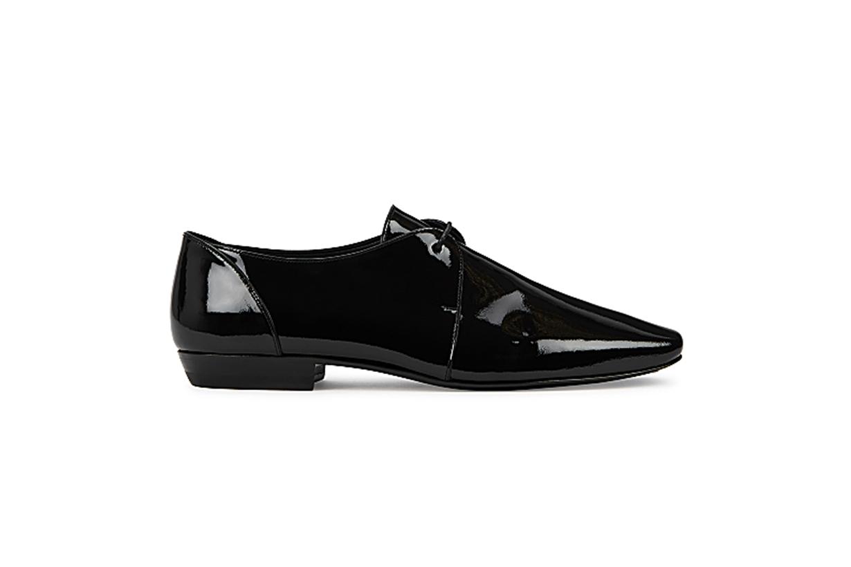 SAINT LAURENT  15 black patent leather Derby shoes