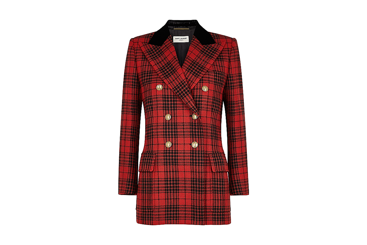 SAINT LAURENT  Tartan double-breasted wool blazer