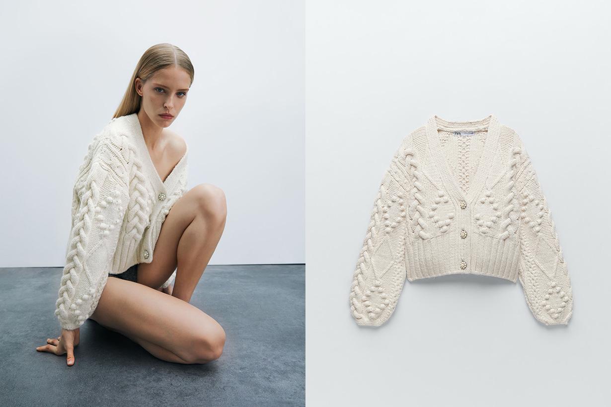 zara knit cardigan with rhinestone buttons 2020 fw