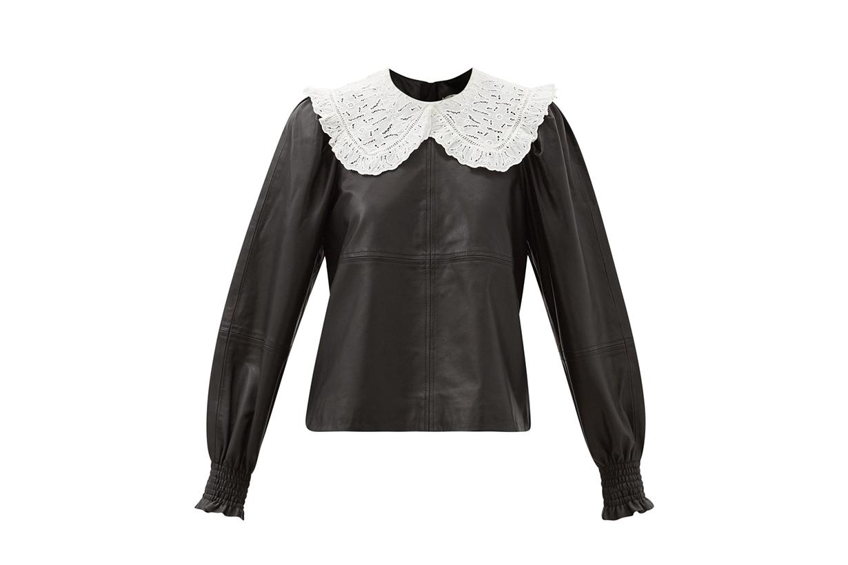 SEA Loretta broderie-anglaise collar leather blouse