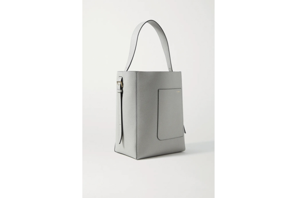 Secchiello medium textured-leather tote