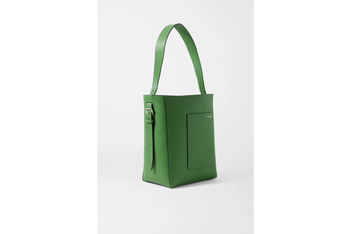 Secchiello small textured-leather tote