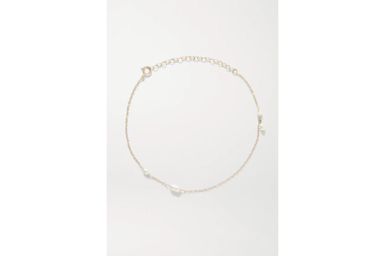 Spindle 14-karat gold pearl anklet
