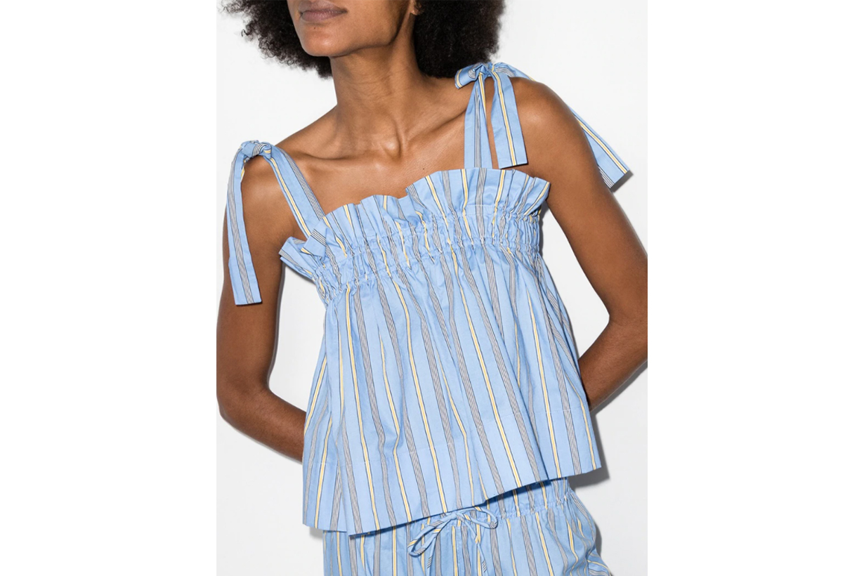 Stripe Smocked Cotton Top