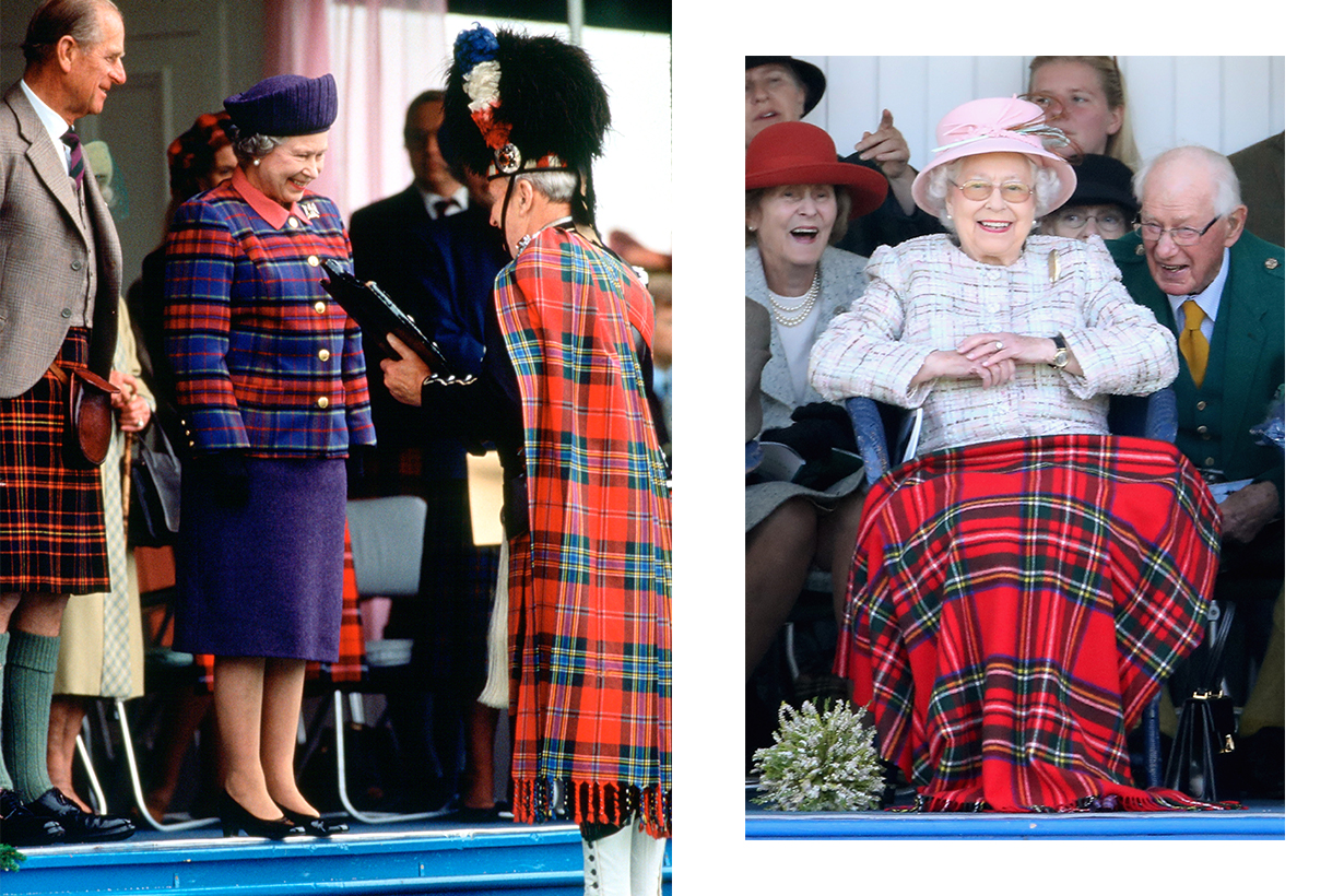 Queen Elizabeth II watches the 2017 Braemar Gathering at The Princess Royal and Duke of Fife Memorial Park on September 2, 2017 in Braemar, Scotland.