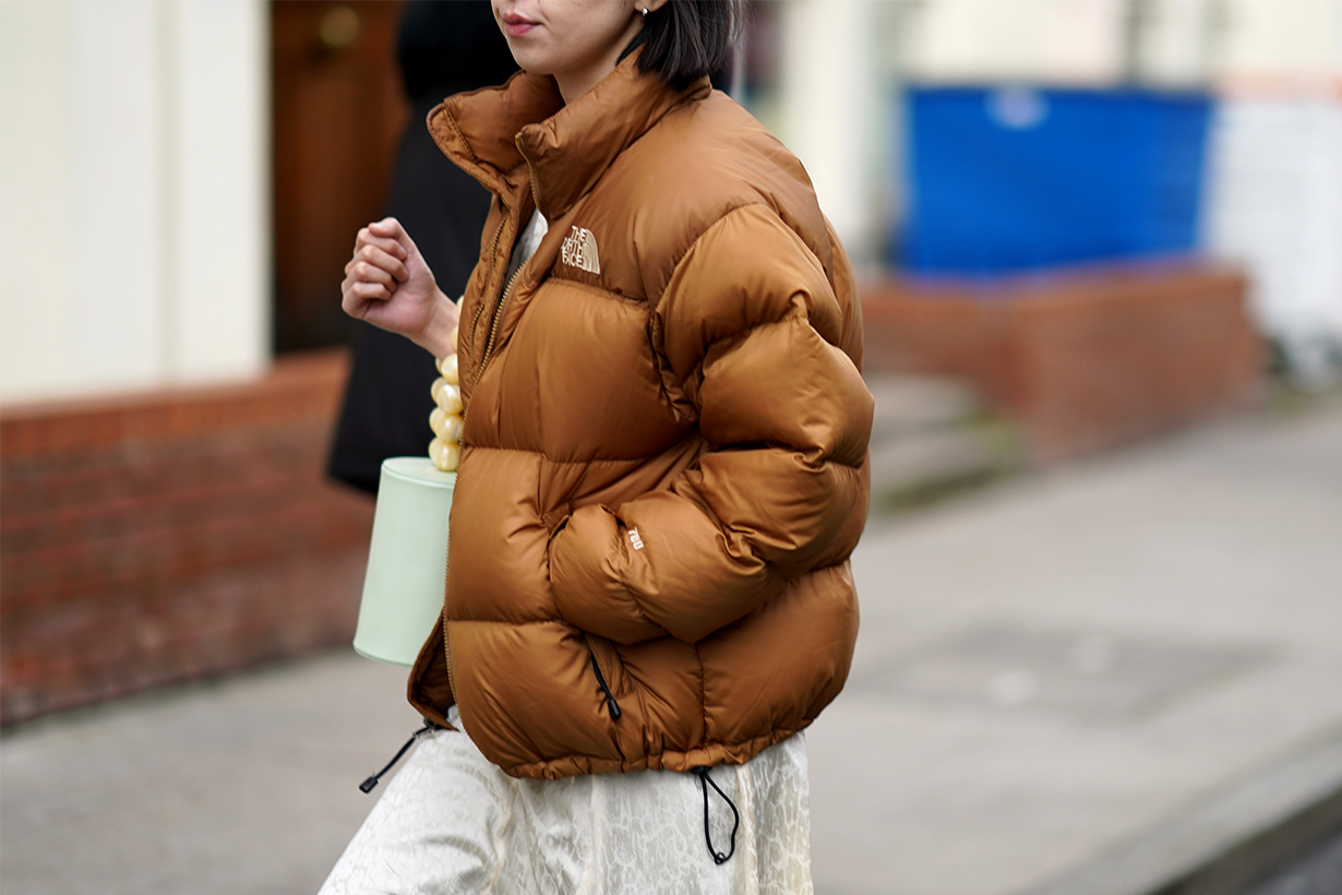 A guest wears a brown North Face puffer jacket, during London Fashion Week February 2020 on February 17, 2020 in London, England.