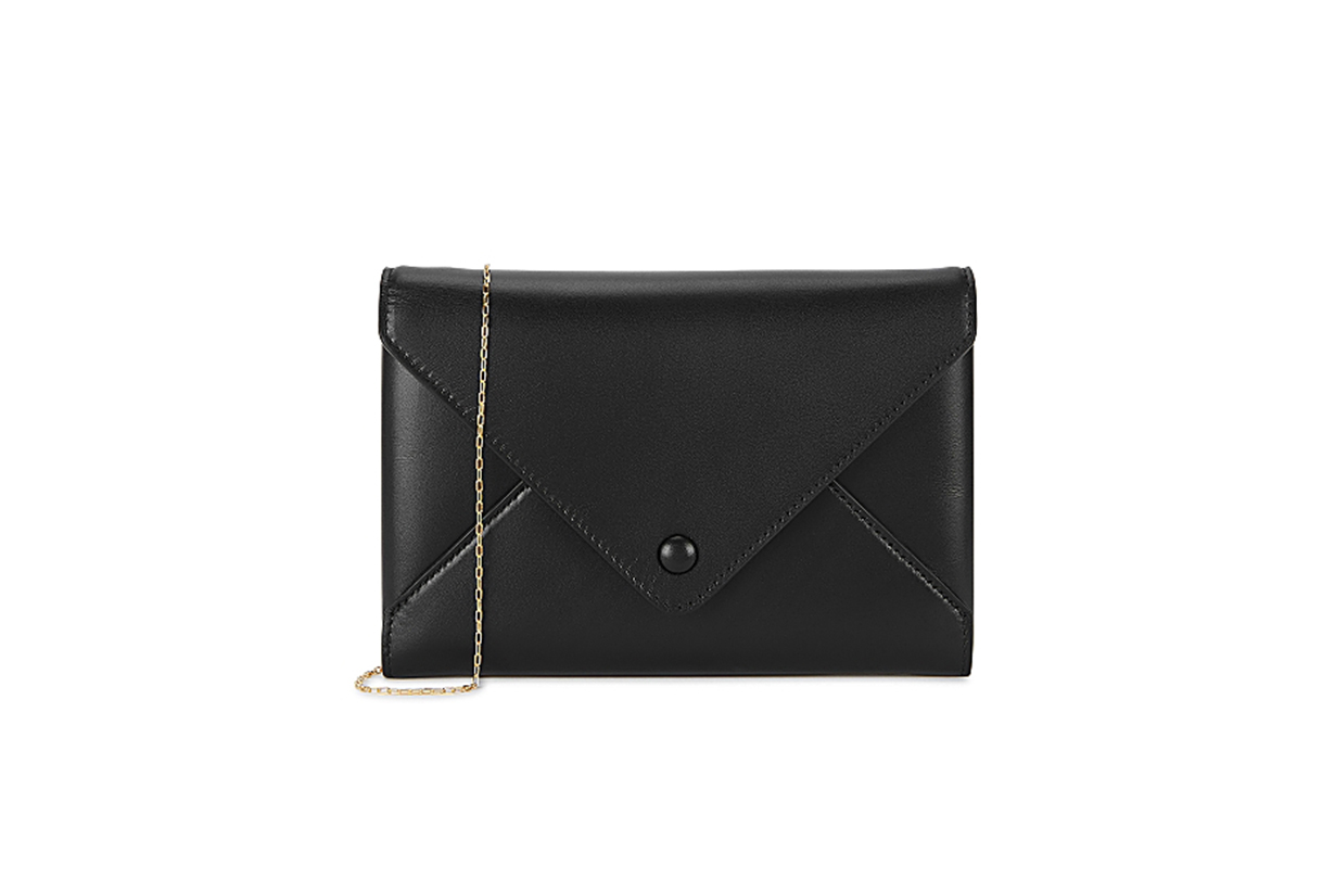 THE ROW  Envelope black leather clutch