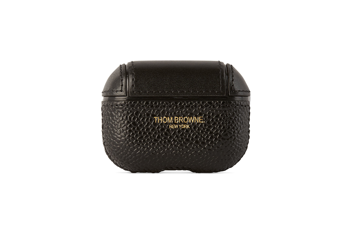 THOM BROWNE Black Leather AirPods Pro Case