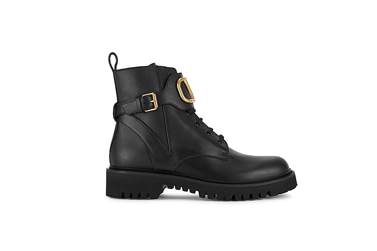 VALENTINO  Valentino Garavani VLogo 50 black leather biker boots