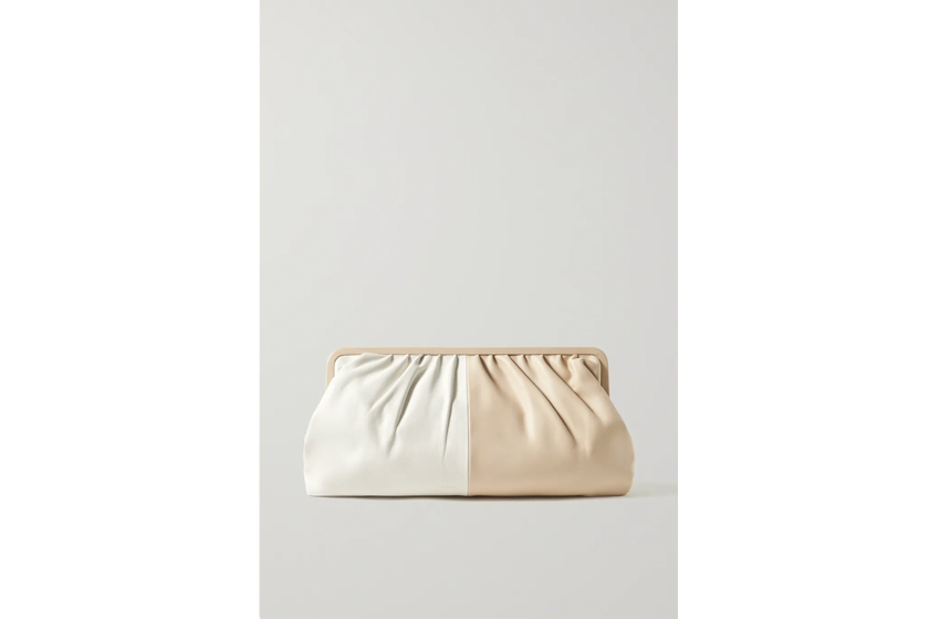 Celia two-tone leather clutch