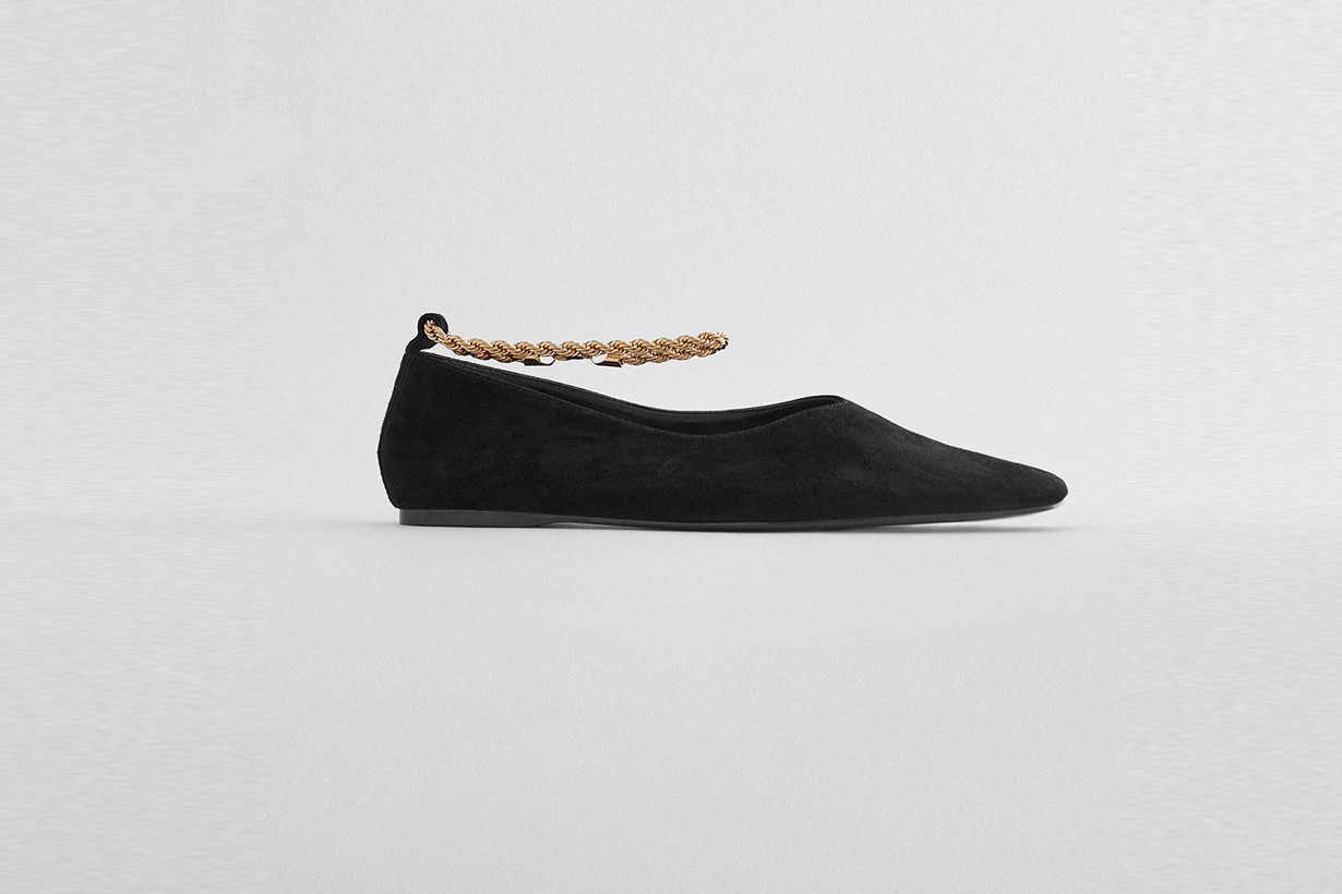 zara chain flat leather shoes