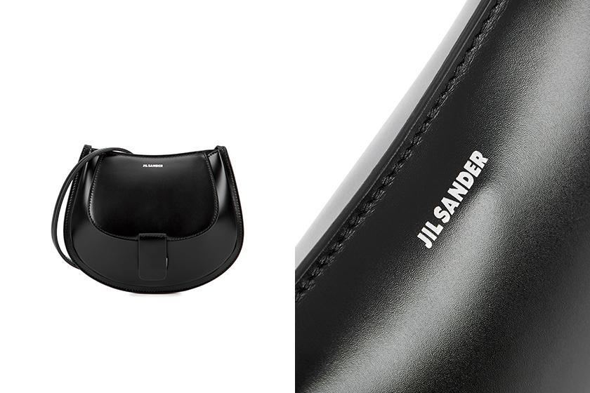 Jil Sander Crescent mini black leather cross-body bag