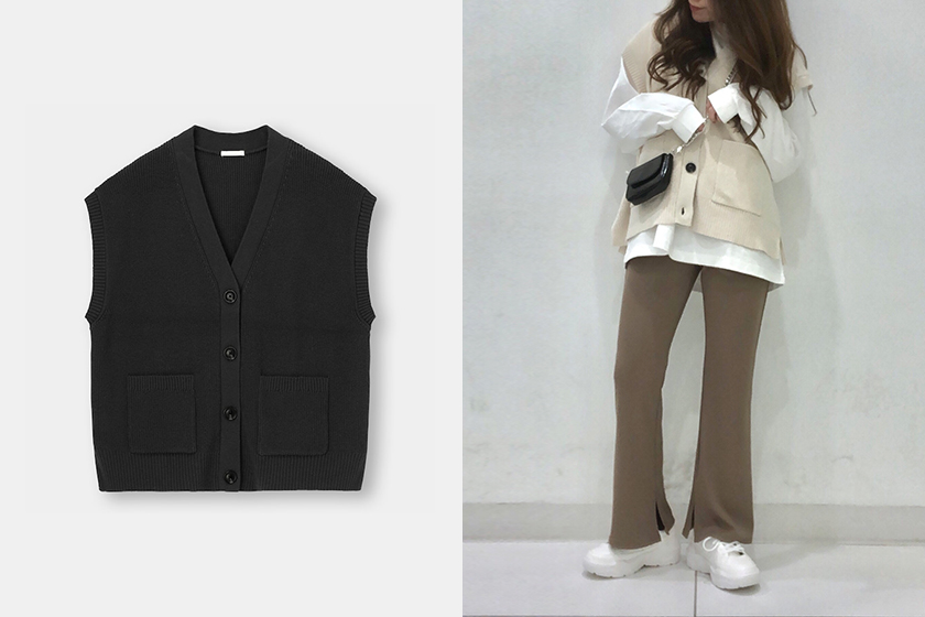 GU Front button Knit Vest for Spring Outfitq
