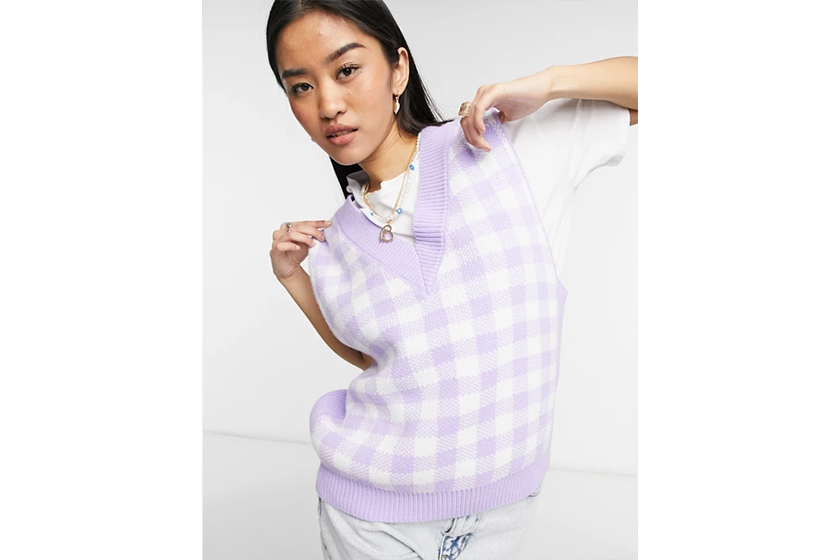 knitted tank in gingham pattern in lilac