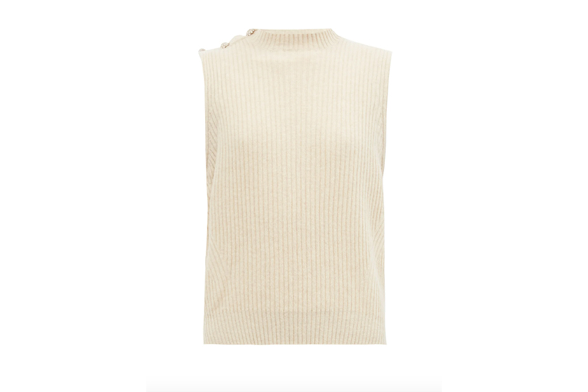 Crystal-button ribbed-knit vest